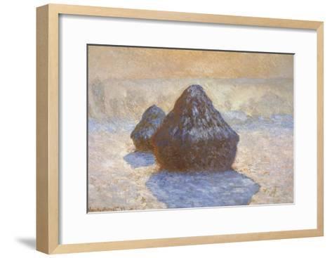 Haystacks - Snow Effect-Claude Monet-Framed Art Print