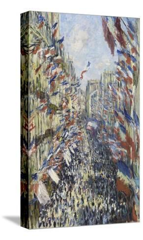 The Rue Montorgueil in Paris, Celebration of June 30, 1878-Claude Monet-Stretched Canvas Print