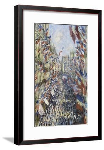 The Rue Montorgueil in Paris, Celebration of June 30, 1878-Claude Monet-Framed Art Print