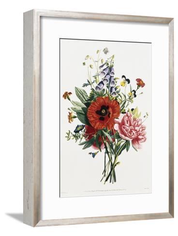 Bouquet of Foxglove, Poppy, and Peony-Jean Louis Prevost-Framed Art Print