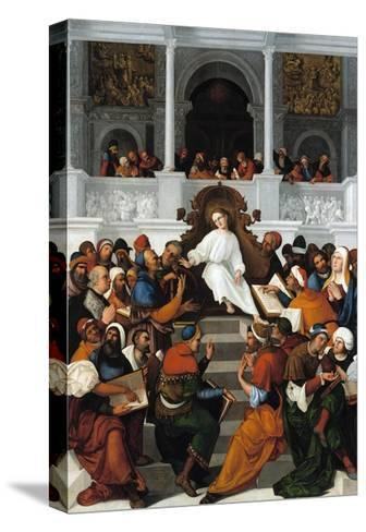 The Twelve-Year-Old Jesus Teaching in the Temple-Ludovico Mazzolino-Stretched Canvas Print