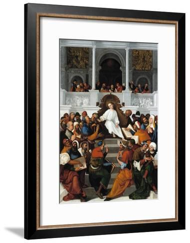 The Twelve-Year-Old Jesus Teaching in the Temple-Ludovico Mazzolino-Framed Art Print