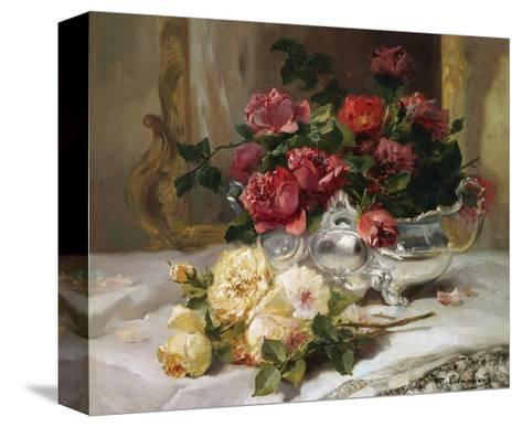 Roses on a Dressing Table-Eugene Henri Cauchois-Stretched Canvas Print
