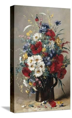 Still Life of Poppies, Daisies and Cornflowers-Eugene Henri Cauchois-Stretched Canvas Print