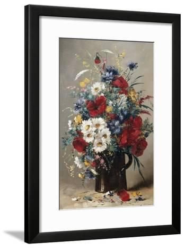 Still Life of Poppies, Daisies and Cornflowers-Eugene Henri Cauchois-Framed Art Print