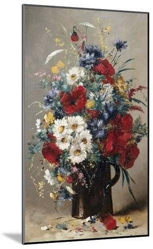 Still Life of Poppies, Daisies and Cornflowers-Eugene Henri Cauchois-Mounted Giclee Print