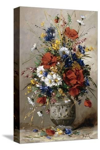 A Vase of Summer Flowers-Eugene Petit-Stretched Canvas Print