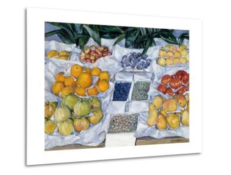 Fruit Displayed on a Stand-Gustave Caillebotte-Metal Print