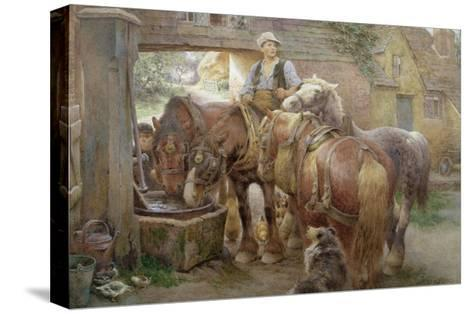 At the Village Pump-Charles James Adams-Stretched Canvas Print