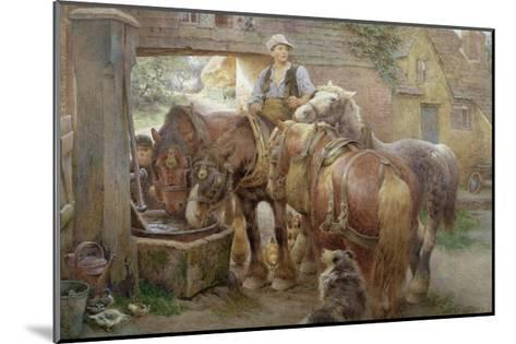 At the Village Pump-Charles James Adams-Mounted Giclee Print