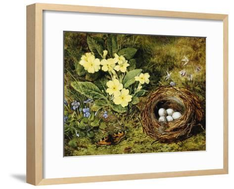 Primroses with a Bird's Nest-H. Bernard Grey-Framed Art Print