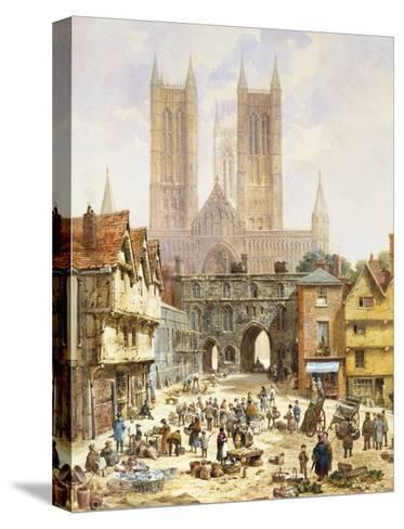 A View of Lincoln Cathedral, England-Louise J^ Rayner-Stretched Canvas Print