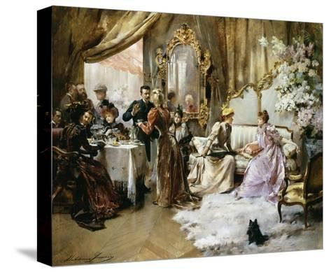 An Elegant Tea Party in the Artist's Studio-Madeleine Jeanne Lemaire-Stretched Canvas Print