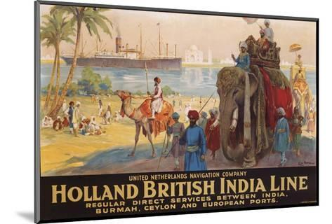 Holland British India Line Poster-E.V. Hove-Mounted Giclee Print