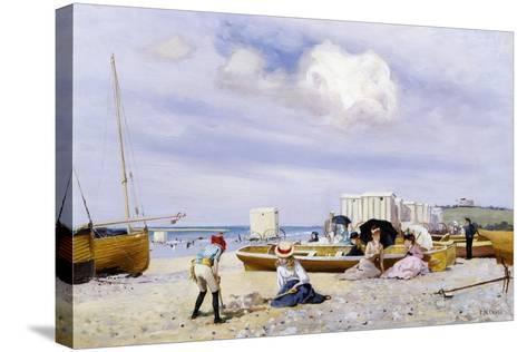 Wear Bay Beach, Folkestone-Frank M. Chase-Stretched Canvas Print