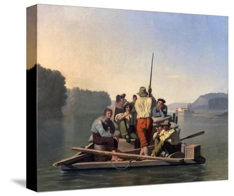 Lighter Relieving a Steamboat Aground-George Caleb Bingham-Stretched Canvas Print