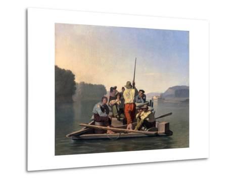 Lighter Relieving a Steamboat Aground-George Caleb Bingham-Metal Print