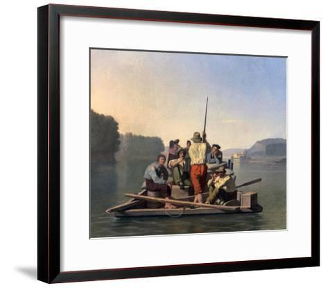 Lighter Relieving a Steamboat Aground-George Caleb Bingham-Framed Art Print