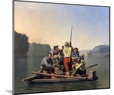 Lighter Relieving a Steamboat Aground-George Caleb Bingham-Mounted Giclee Print