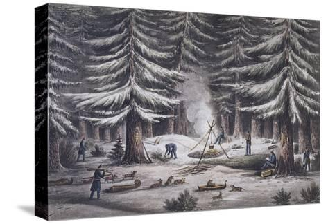 Manner of Making a Resting Place on a Winter's Night-Edward Finden-Stretched Canvas Print