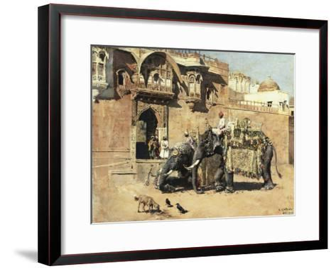 Elephants Outside a Palace, Jodhpore, India-Edwin Lord Weeks-Framed Art Print