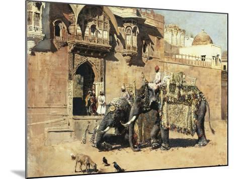 Elephants Outside a Palace, Jodhpore, India-Edwin Lord Weeks-Mounted Giclee Print