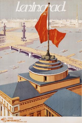 Leningrad Travel Poster-B. Zelensky-Stretched Canvas Print