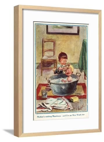 Boy Bathing His Little Brother--Framed Art Print
