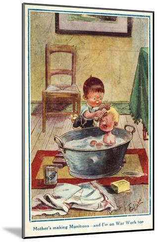 Boy Bathing His Little Brother--Mounted Giclee Print