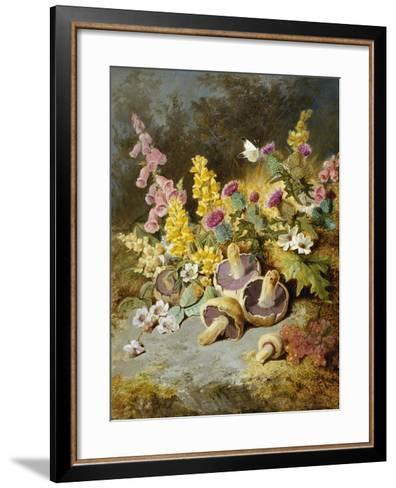 Still Life of Floxgloves, Mushrooms, Snapdragons, and Thistles-Thomas Worsey-Framed Art Print