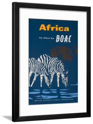 Africa: Fly There by Boac Travel Poster--Framed Art Print