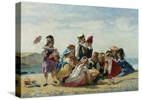 A Day at the Seaside-Timoleon Lobrichon-Stretched Canvas Print