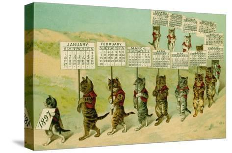 1897 Calendar with Parading Cats--Stretched Canvas Print