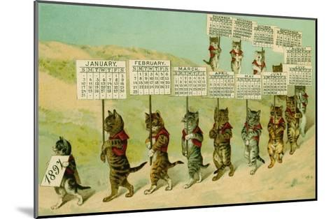 1897 Calendar with Parading Cats--Mounted Giclee Print