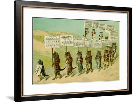1897 Calendar with Parading Cats--Framed Art Print