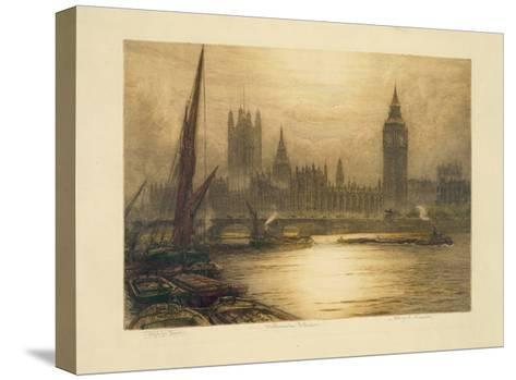 Color Etching of Westminster--Stretched Canvas Print