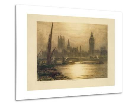 Color Etching of Westminster--Metal Print