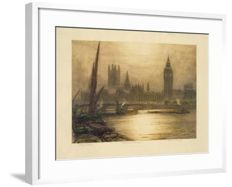 Color Etching of Westminster--Framed Art Print