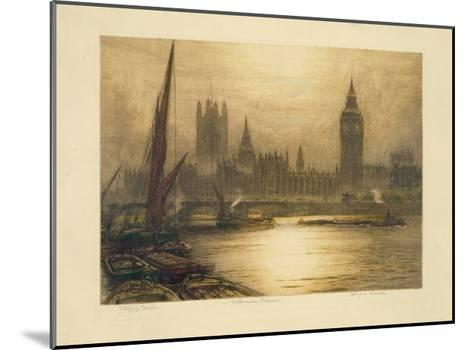 Color Etching of Westminster--Mounted Giclee Print