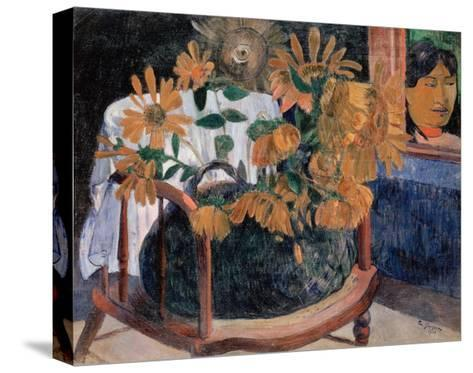 Still Life with Sunflowers on an Armchair-Paul Gauguin-Stretched Canvas Print