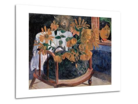Still Life with Sunflowers on an Armchair-Paul Gauguin-Metal Print
