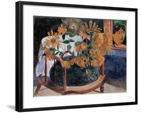 Still Life with Sunflowers on an Armchair-Paul Gauguin-Framed Art Print