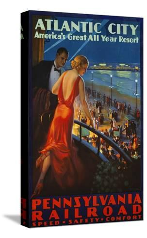 Atlantic City Pennsylvania Railroad Poster--Stretched Canvas Print