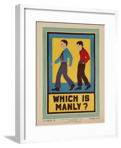 Character Culture Citizenship Guides Original Poster, Which Is Manly?--Framed Art Print