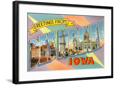 Greetings from Des Moines, Iowa--Framed Art Print