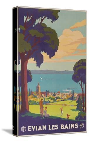 Evian Les Bains, French Plm Railway Gold Poster--Stretched Canvas Print