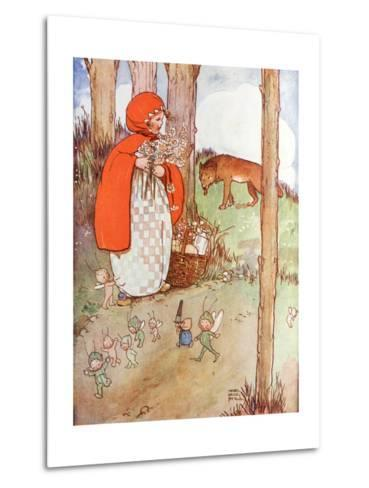 Little Red Riding Hood in the Forest--Metal Print