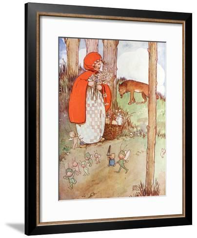 Little Red Riding Hood in the Forest--Framed Art Print