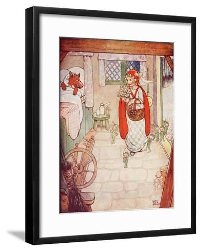 Little Red Riding Hood Meets the Wolf--Framed Art Print