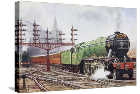Flying Scotsman Steam Locomotive--Stretched Canvas Print